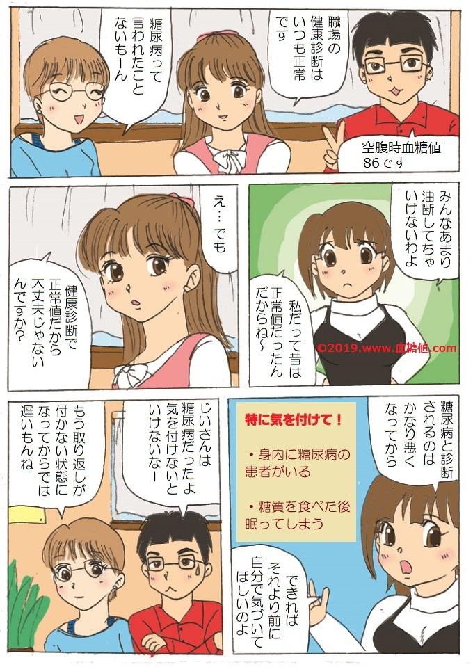 日本人の9人にひとりが血糖値スパイクを持つという内容の糖尿病漫画