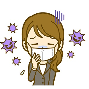 風邪かインフルエンザにやられてマスクをする女性