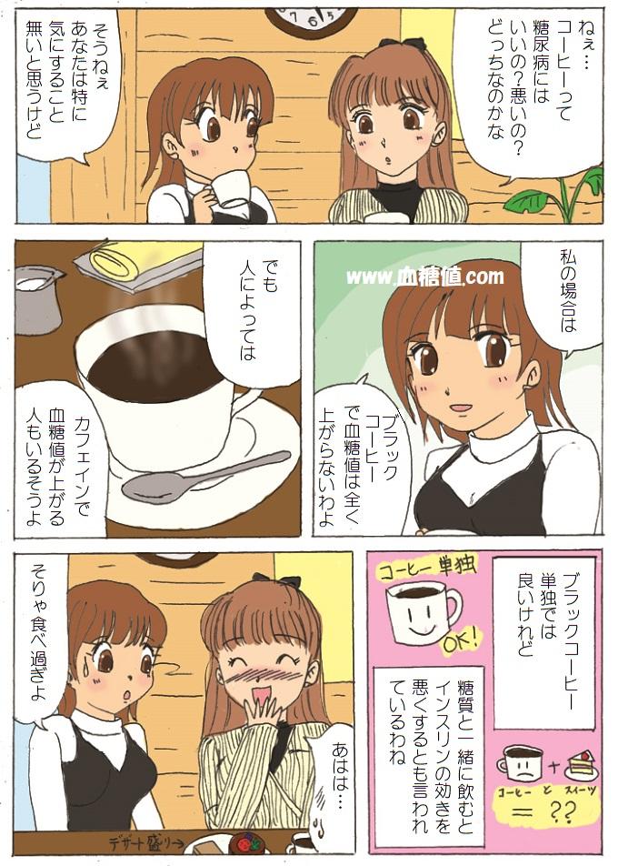 ブラックコーヒーは糖尿病患者の血糖値にどう影響を与えるのかという内容の糖尿病漫画