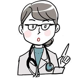 メガネをかけた厳しそうな女医さん