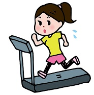 ジムのランニングマシンで走る女性