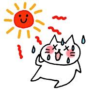カンカン照りの太陽の下でバテている猫