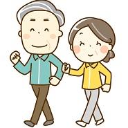 元気にウォーキングする年配の夫婦