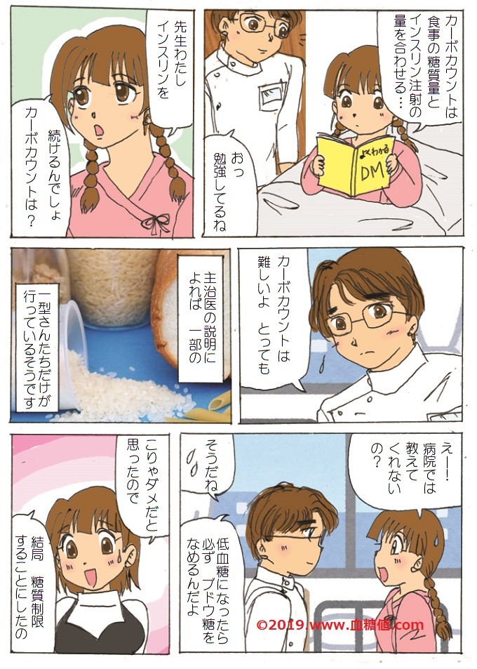 カーボカウントについて話す糖尿病患者と主治医の漫画