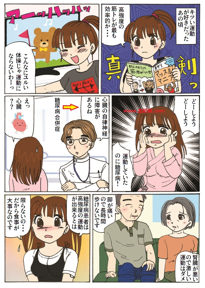 糖尿病患者は高強度の運動が出来ない場合があるという内容の漫画