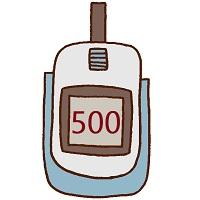 血糖値500を示している自己血糖測定器
