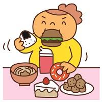 糖質中毒でモリモリ食べる太った女性