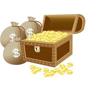 ドル箱と金貨いっぱいの宝箱