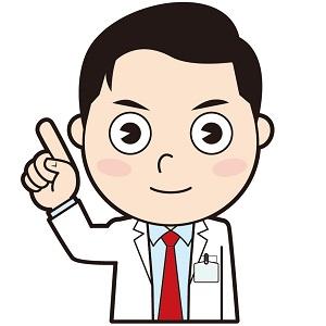 片手を上げて説明する男性医師