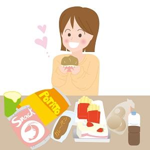 お菓子や菓子パンなど糖質が大好きでいっぱい食べる女性