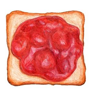 たっぷりいちごジャムを塗ったトースト