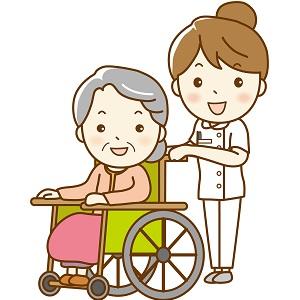 車いすのおばあちゃんと看護師さん
