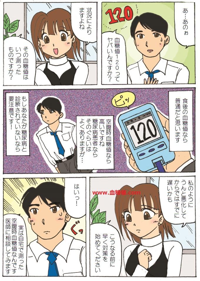 空腹時血糖値が120で糖尿病を心配している男性の漫画