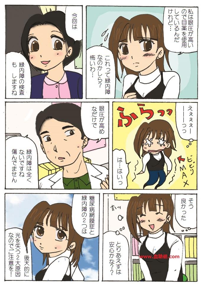 緑内障の検査を受けた体験談の漫画