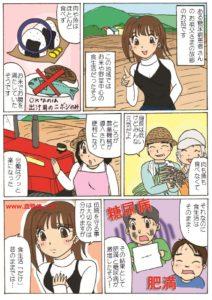 運動しないのにお米をたくさん食べて肥満と糖尿病が激増したという内容の漫画