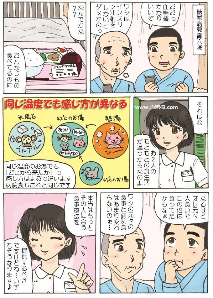 糖尿病で教育入院している患者たちの漫画
