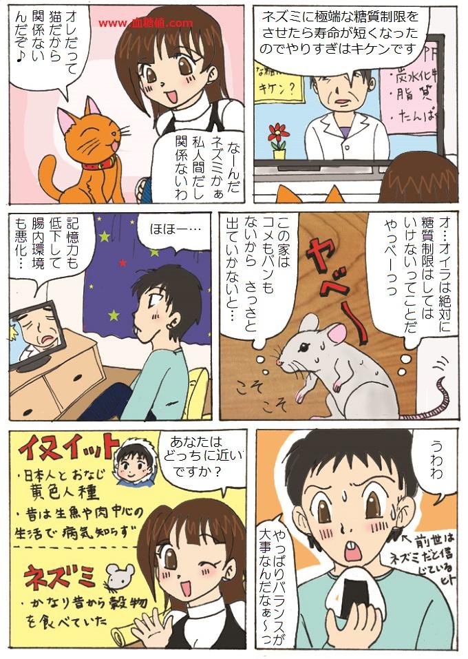 ネズミは糖質制限すべきではないと言う内容の漫画