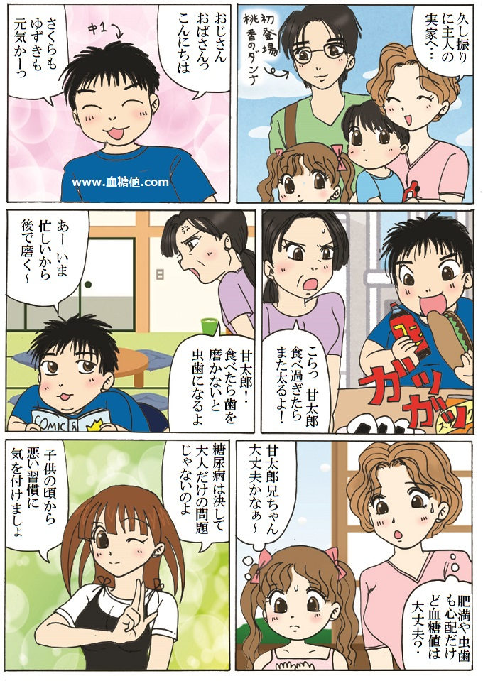 子供も糖尿病の心配をするべきだという内容の漫画