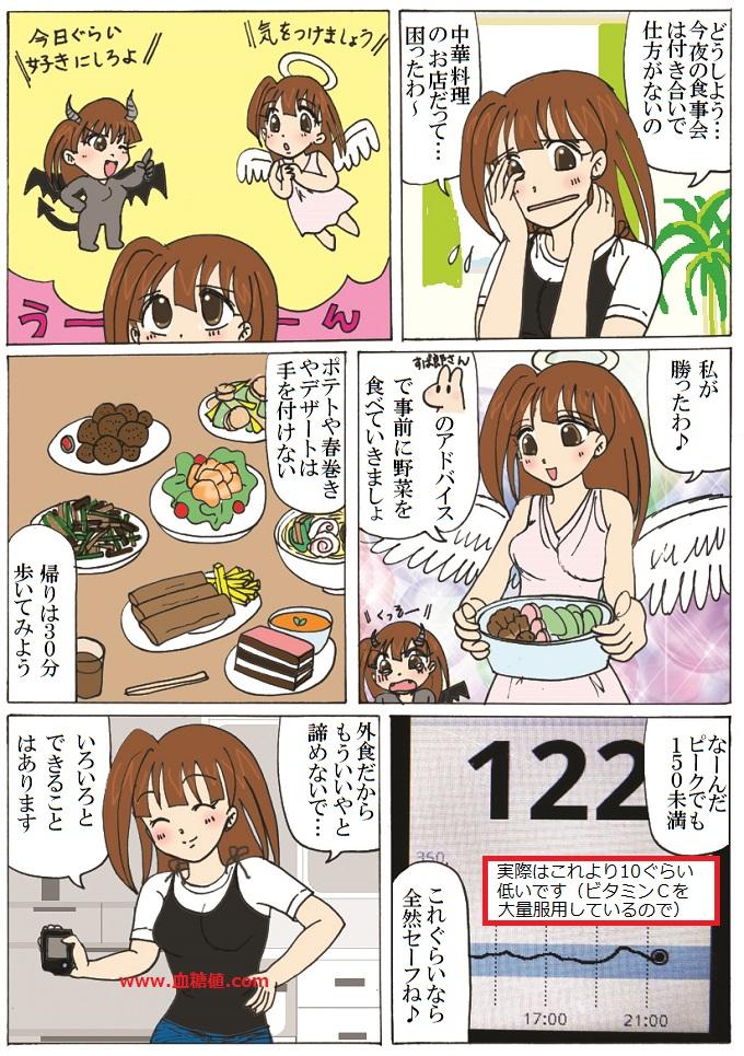 糖尿病患者が中華料理を食べに行った時のエピソードを描いた漫画