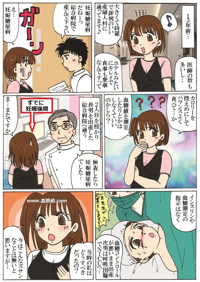 昔の妊娠糖尿病治療に関する漫画