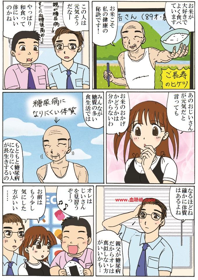 ご長寿さんの真似をしても必ずしも長生きできないと言う内容の漫画