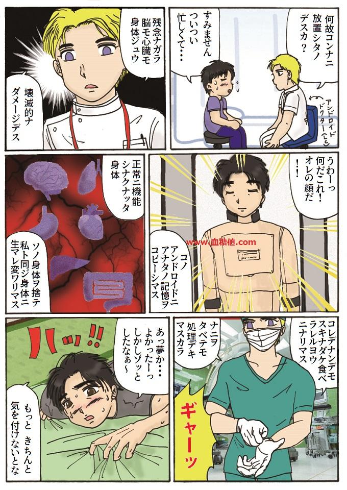 糖尿病が悪化してロボットに改造される夢を見たという内容の漫画