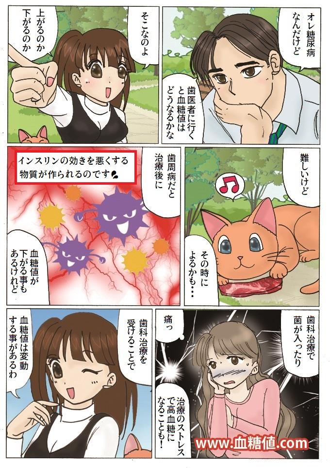 糖尿病患者と歯科治療に関する内容の漫画