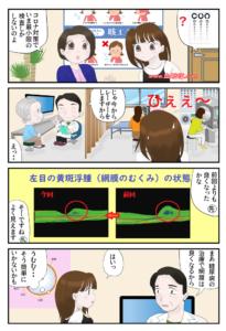 眼科受診する糖尿病網膜症患者のマンガ