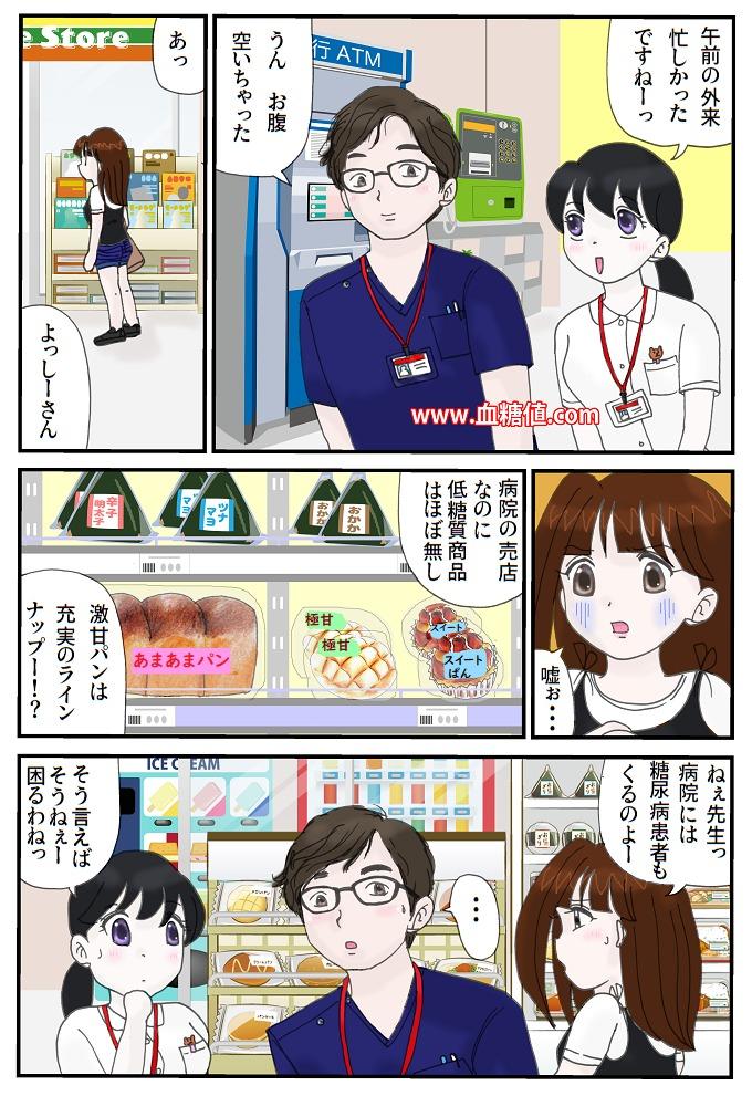 病院の売店には糖質ばっかりだという内容のマンガ